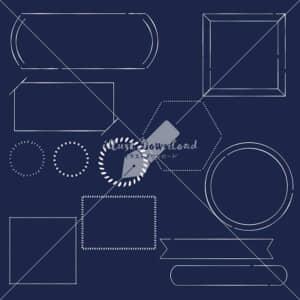 イラストデータ販売|シンプル フレーム あしらい ペン画 手書き 黒板 イラストデータ
