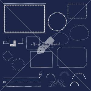 イラストデータ販売|フレーム あしらい ペン画 手書き 黒板 イラストデータ