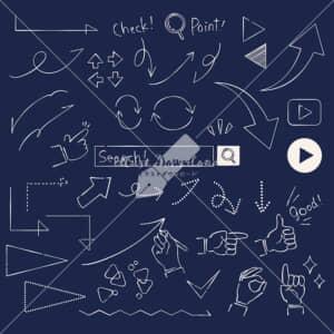 イラストデータ販売|矢印 あしらい ペン画 手書き 黒板 イラストデータ