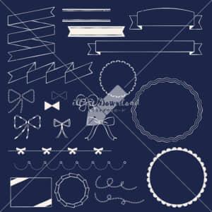 イラストデータ販売|りぼん あしらい ペン画 手書き 黒板 イラストデータ