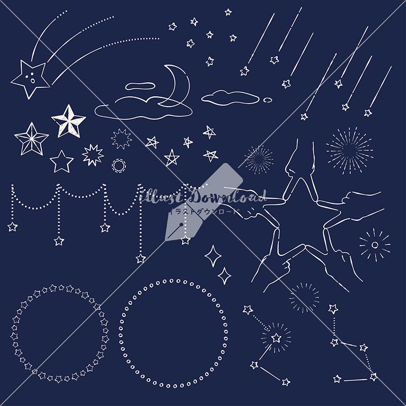 イラストデータ販売|星 あしらい ペン画 手書き 黒板 イラストデータ