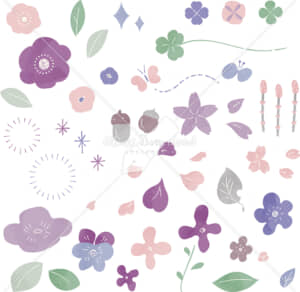 春 花 自然 あしらい 色付き
