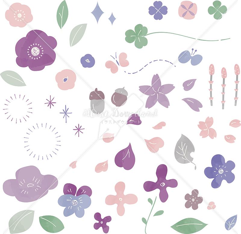 イラストデータ販売|春 花 自然 あしらい 色付き イラストデータ