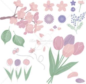 イラストデータ販売|春 さくら チューリップ 自然 あしらい 色付き イラストデータ