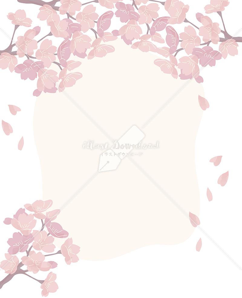 イラストデータ販売|桜 フレーム 満開 シンプル イラスト イラストデータ
