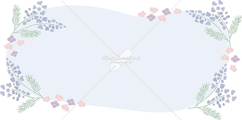 イラストデータ販売|花 春 青色 フレーム イラスト イラストデータ