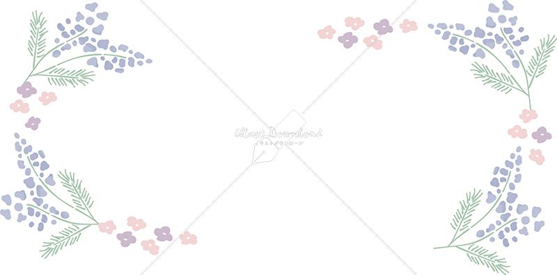 イラストデータ販売|春 青い小花 フレーム シンプル 手描き イラストデータ