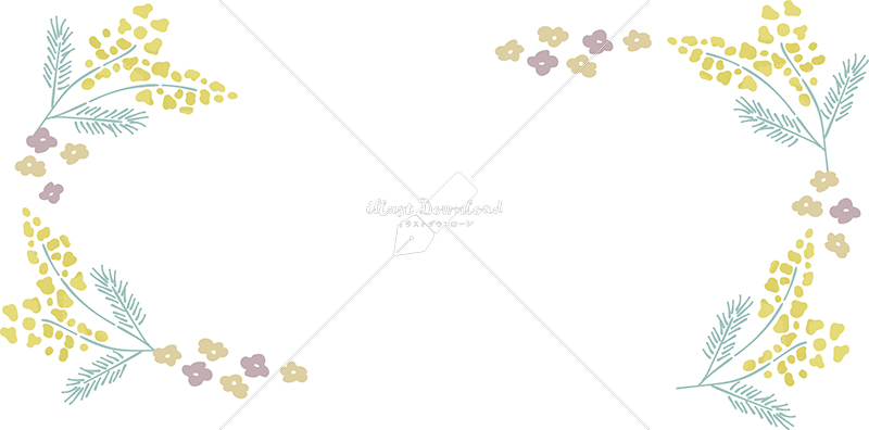 イラストデータ販売|春 黄色い小花 フレーム シンプル 手描き イラストデータ