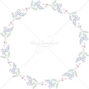 イラストデータ販売|春 青い小花 円 フレーム シンプル 手描き イラスト イラストデータ
