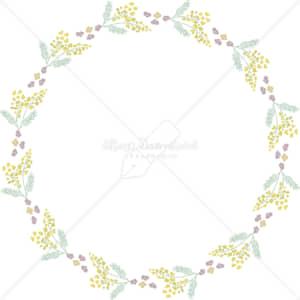 イラストデータ販売|春 黄色い小花 円 フレーム シンプル 手描き イラストデータ