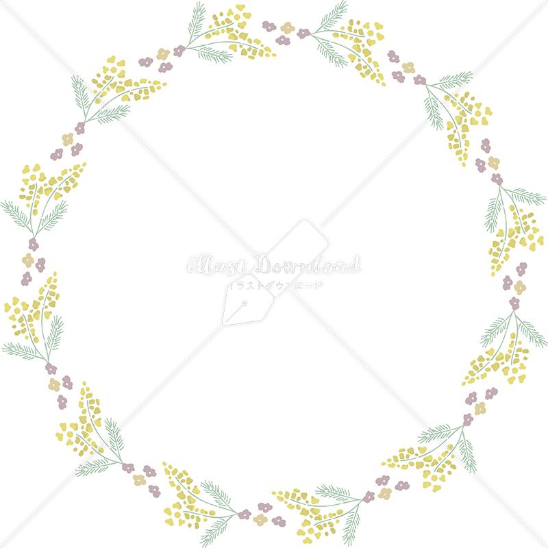 イラストデータ販売 春 黄色い小花 円 フレーム シンプル 手描き イラストデータ