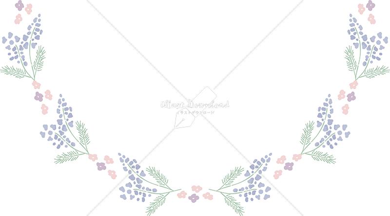 イラストデータ販売|春 青い小花 半円下 フレーム シンプル 手描き イラストデータ