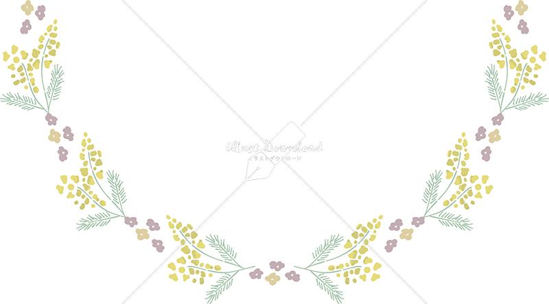 イラストデータ販売|春 黄色い小花 半円下 フレーム シンプル 手描き イラストデータ