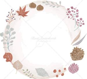 イラストデータ販売|秋 葉 自然 フレーム 水彩 色付き イラストデータ