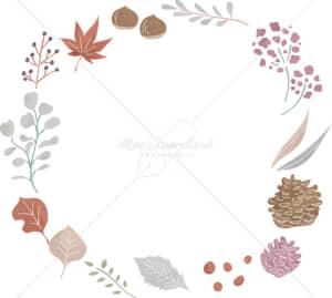 イラストデータ販売|秋 葉 自然 円フレーム 背景透明 色付き イラストデータ
