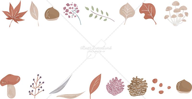 イラストデータ販売|秋 葉 自然 フレーム 上下 色付き イラストデータ