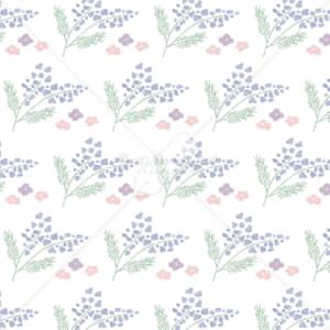 イラストデータ販売|春 青い花 パターン 手描き イラスト イラストデータ