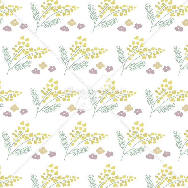 イラストデータ販売|春 黄色い花 パターン 手描き イラスト イラストデータ