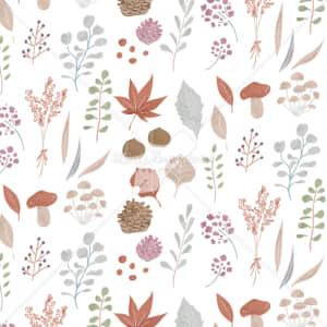 イラストデータ販売|秋 葉 自然 パターン 手描き イラスト イラストデータ