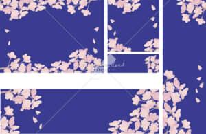 イラストデータ販売|桜背景 バナー 青色 イラストデータ