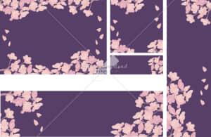 イラストデータ販売|桜背景 バナー 紫 イラストデータ