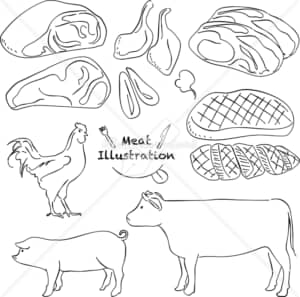 イラストデータ販売|肉 鶏 豚 牛 あしらい ペン画 手書き イラストデータ