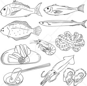 イラストデータ販売|魚 和食 あしらい ペン画 手書き イラストデータ