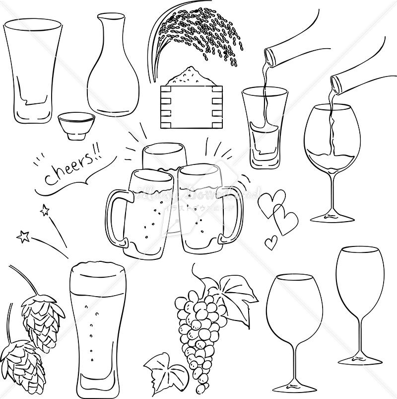 イラストデータ販売|お酒 シーン あしらい ペン画 手書き イラストデータ