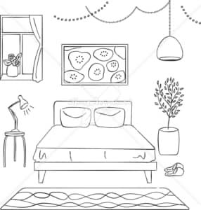 イラストデータ販売|寝室 インテリア あしらい ペン画 手書き イラストデータ
