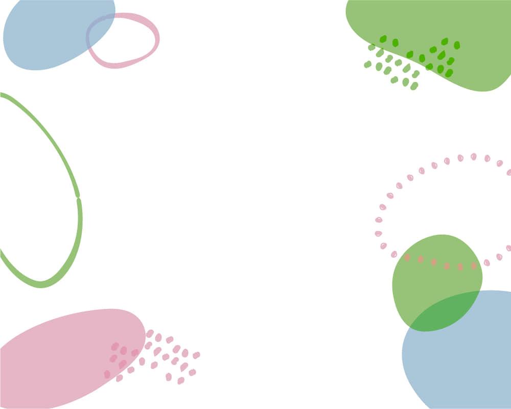 可愛いイラスト無料|背景 シンプル かわいい 円あしらい ピンク、ブルー、グリーン