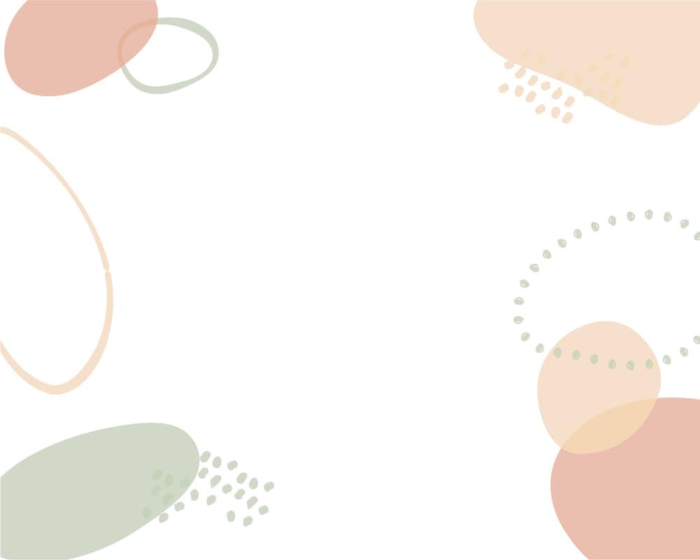 可愛いイラスト無料|背景 シンプル かわいい 円あしらい 薄いオレンジとグリーン