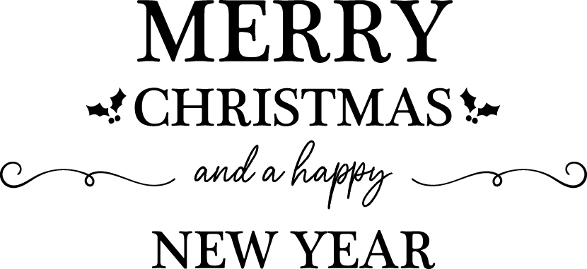 可愛いイラスト無料|クリスマス タイトル装飾1 あしらい 「Merry Christmas and a happy New Year」