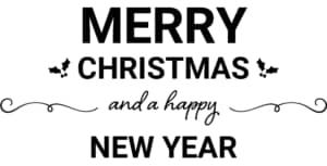 可愛いイラスト無料|クリスマス タイトル装飾2 あしらい 「Merry Christmas and a happy New Year」