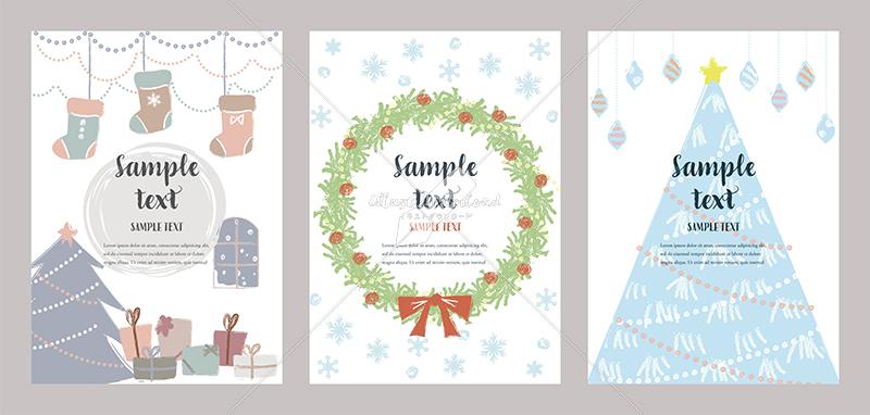 イラストデータ販売|クリスマスカード 手描き かわいい イラスト3 イラストデータ
