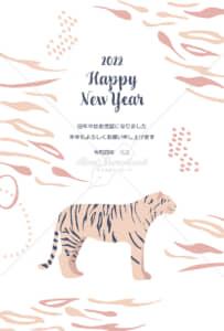 イラストデータ販売|寅年 シンプル 年賀状 トラと虎柄背景1 イラストデータ