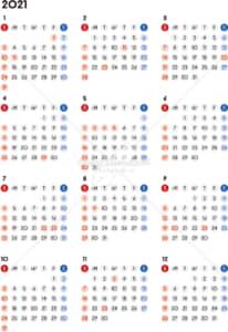 イラストデータ販売|カレンダー 2021 最新の祝日|シンプルなカレンダー A4 丸バージョン (日曜始まり)