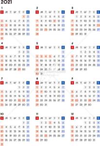 イラストデータ販売|カレンダー 2021 最新の祝日|シンプルなカレンダー A4 四角バージョン(日曜始まり)
