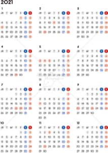 イラストデータ販売|カレンダー 2021 最新の祝日|シンプルなカレンダー A4 丸バージョン(月曜始まり)