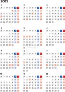 イラストデータ販売|カレンダー 2021 最新の祝日|シンプルなカレンダー A4 四角バージョン(月曜始まり)