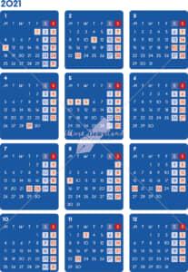 イラストデータ販売|カレンダー 2021 最新の祝日|シンプルなカレンダー A4 ダーク(月曜始まり)