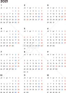 イラストデータ販売|カレンダー 2021 最新の祝日|シンプルなカレンダー A4 背景なし(月曜始まり)