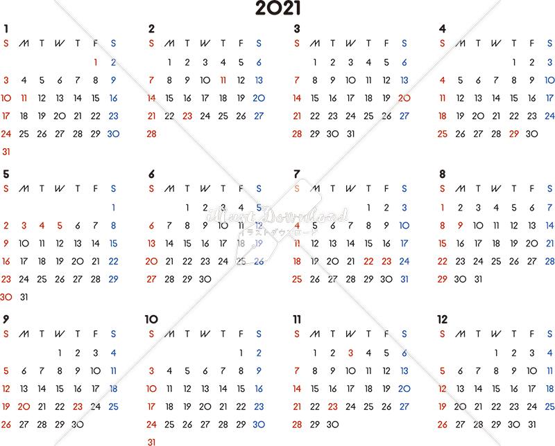 イラストデータ販売|カレンダー 2021 最新の祝日|シンプルなカレンダー A4 横型(日曜始まり)
