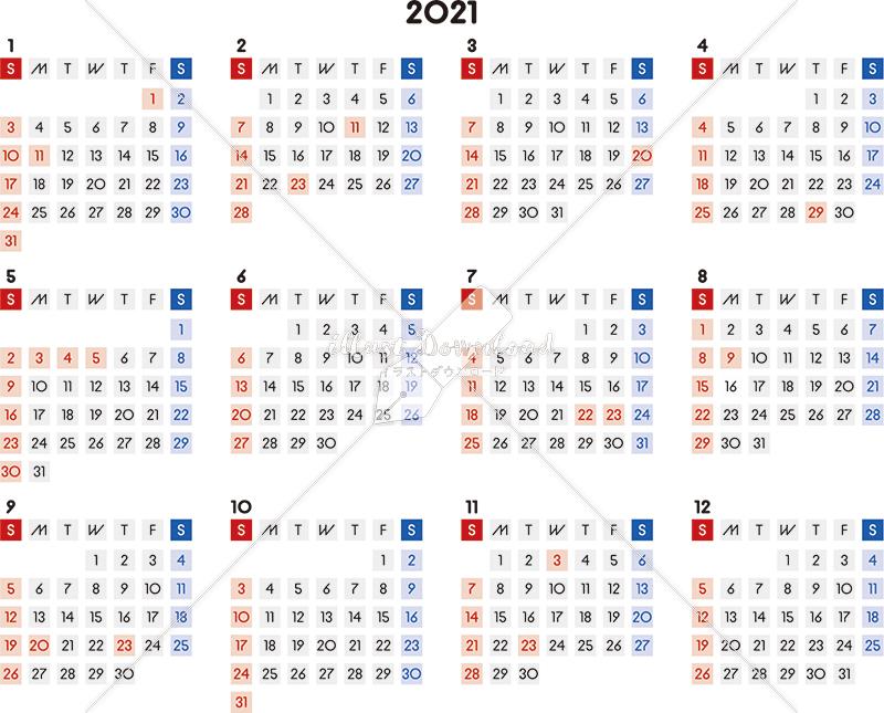 イラストデータ販売|カレンダー 2021 最新の祝日|シンプルなカレンダー A4 四角バージョン 横型(日曜始まり)