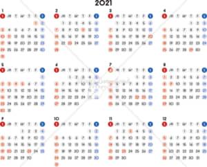 イラストデータ販売|カレンダー 2021 最新の祝日|シンプルなカレンダー A4 丸バージョン 横型(日曜始まり)