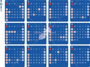 イラストデータ販売|カレンダー 2021 最新の祝日|シンプルなカレンダー A4 ダーク 横型(日曜始まり)