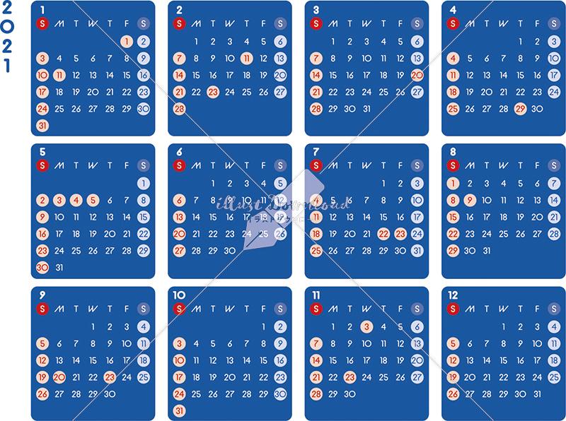 イラストデータ販売 カレンダー 2021 最新の祝日 シンプルなカレンダー A4 ダーク 横型(日曜始まり)
