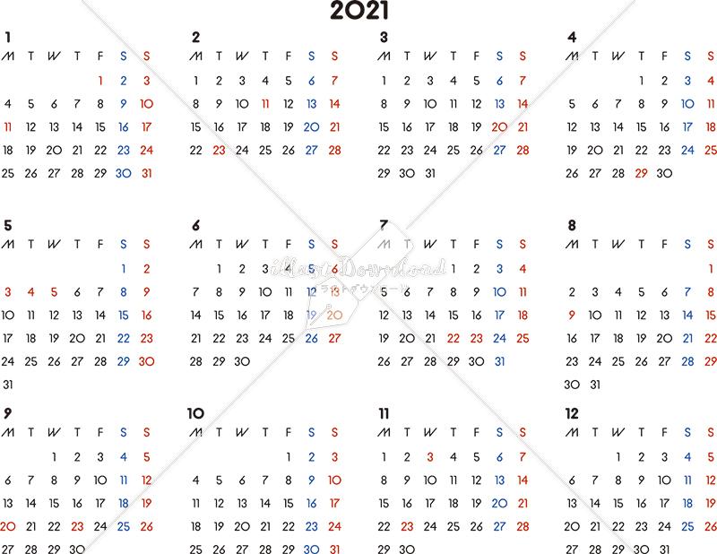 イラストデータ販売|カレンダー 2021 最新の祝日|シンプルなカレンダー A4 横型(月曜始まり)
