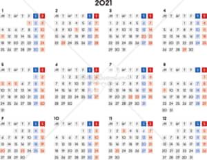 イラストデータ販売|カレンダー 2021 最新の祝日|シンプルなカレンダー A4 四角バージョン 横型(月曜始まり)