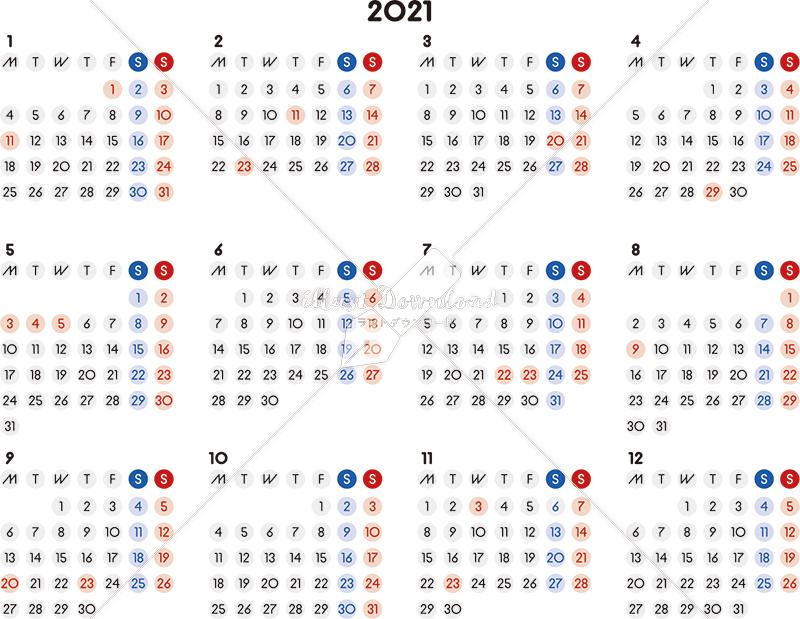 イラストデータ販売|カレンダー 2021 最新の祝日|シンプルなカレンダー A4 丸バージョン 横型(月曜始まり)