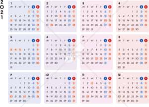 イラストデータ販売|カレンダー 2021 最新の祝日|シンプルなカレンダー カラフル 横型(月曜始まり)